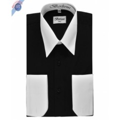 BLACK TWO TONE DRESS SHIRT