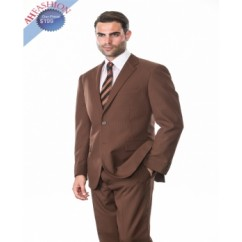 2-Button Brown Suit with Tone on Tone Stripes by Tessori AHFashion Uomo