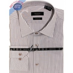 Mantoni Mens Grey Stripe Wrinkle Free Cotton Shirt