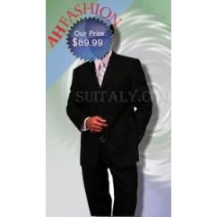 3-Button Jet Black Suit Wool Blend  Suit