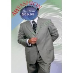 3-Button Men's Light Grey/Gray Wool Blend Suit
