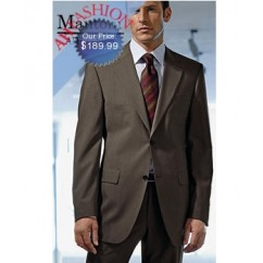 Mantoni  2-Button Taupe Super 150s Wool Suit