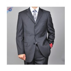 Mantoni Mens Solid Black 3-button Suit