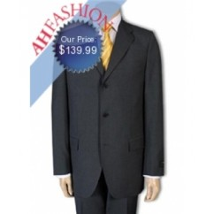 Charcoal Gray Men's  Super 130s Wool Suit. Double Vented with Flap Pocket
