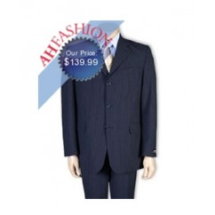 Luxurious Navy Pinstripe Men's Suit Low Priced, High Quality Super Fine 130's Wool