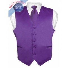 Purple Tuxedo Vest and Tie Set