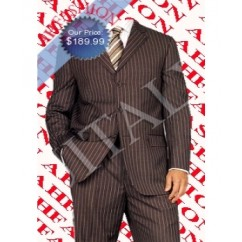 New And Hott Item, Featured in GQ, Pinstripe Vested Men's Super 150s Wool Suit, Made in Italy, Vented,