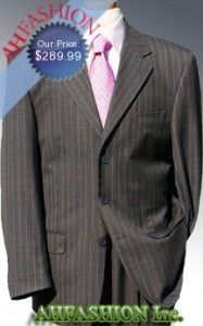 Dark Gray Suit with Cream Pinstripes High Twist Year Around