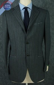 Men's Suits Dark Gray Pinstripe 3-Button Suit