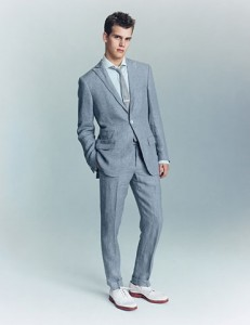 Mens Blue Linen Suit 2-Button 100% Irish Linen