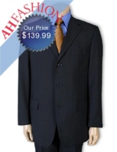 Dark Navy Blue Men's Super 130s Wool Suit Ultra Twisted Wool