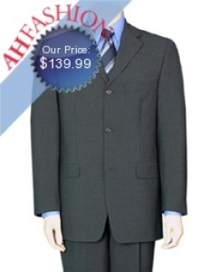 Luxurious 3-Button Dark Charcoal Super 120s Wool Suit. Ultra Low Price.