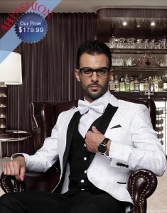Classic Mens White 1 Button Vested Tuxedo with Bowite