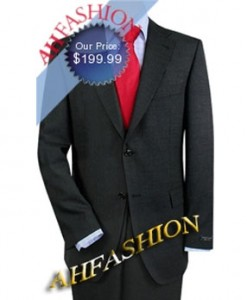 Stylish 2-Button Charcoal Italian Suit  in 100% Super 140's Actual Wool Suit