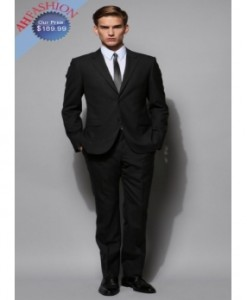 Mens Extra Long 2-Button Suit 100% Wool