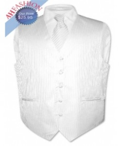 White Vertical Striped Tuxedo Vest and Tie
