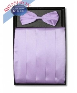 Lavender Bow Tie and Cummerbund Set
