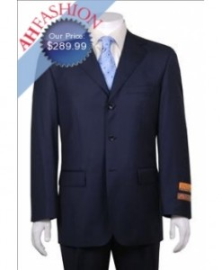 Men's Navy Stripe 3 Button Vented 1 Pleated Pants Wool Suit