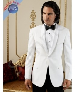 White Shawl Dinner Jacket By Jean Yves Slim Fit