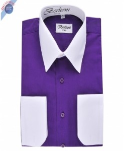 PURPLE TWO TONE DRESS SHIRT