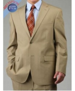 Mens two button Taupe Camel Suit Wool Blend