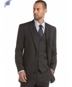 Charcoal Vested Suit 2 Button Stylish