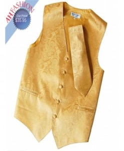Gold paisley Tuxedo Vest and Tie Set by Vesuvio Napoli