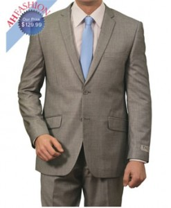 Slim Fit Gray Windowpane Suit