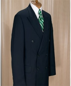 Men's Italian Classic Signature Double Breasted Wool Suits in Navy