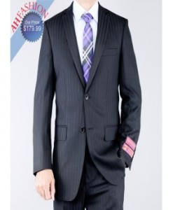 $1299.99 Luxurious Classic Fit Tuxtured Black 2 Button Wool Suit