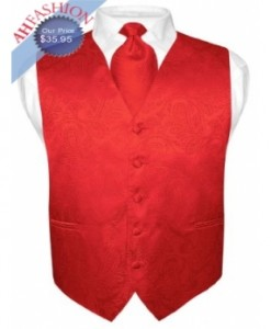 Red Paisley Tuxedo Vest and Tie Set by Vesuvio Napoli