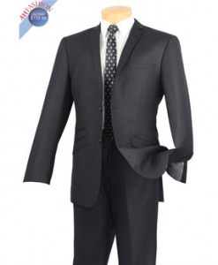 New Amzing Narrow Black Pinstripe Lapel Style Black Slim Cut Suit w Ticket Pocket