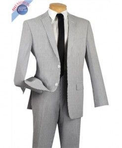New Black Seersucker Striped Suit 2 Button Slim Fit Suit