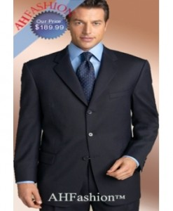 Extra Long Navy Blue Men Suit in Super 150's Italian Wool Suit AHFashion Exclusive Line, Vented