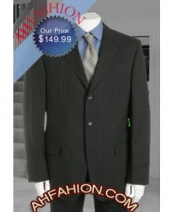 Thin Close Distanced Pinstripe Black Suit Super 140s Ultra Smooth Wool