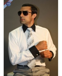 White French Cuff Dress Shirt, Tie and Cufflink Set