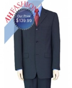3-Button Style Men's Navy Suit, Vented, Flat Front Pants, Worsted Super 130's Wool