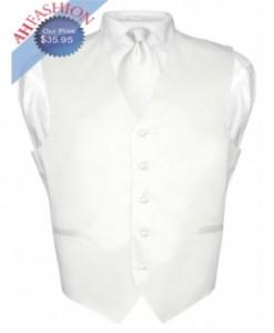 White Tuxedo Vest and Tie Set