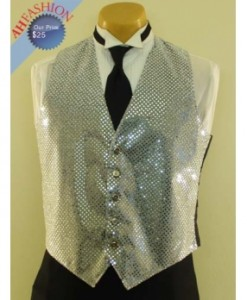 Sequined Silver Tuxedo Vest and Bow Tie Set