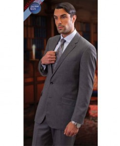 Slim Fit Medium Grey Suit by Tzarelli AHFashion Uomo