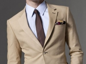 Mens Taupe Linen Suit 100% Linen 2-Button