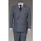 Men's Double Breasted Gray Suit