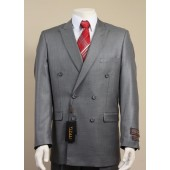 Vitali Mens Solid Gray Color Double Breasted Suit