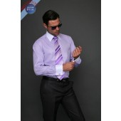 Men's Two Tone Lilac Dress Shirt, Tie & Hankie Set