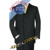 Brand New Black Italian Suit + 100% Italian Shirt + 100% Silk Tie