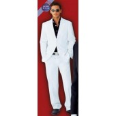 Men's Suit 2-Button White Suit + Black Shirt