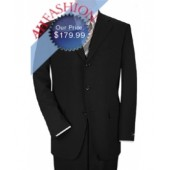 Jet Black Mens Suit  in Ultra Smooth Super 150's Wool