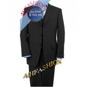 Charcoal Vested 3-Button Suit, 100% Wool, Perfect for Year Round Wear