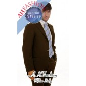 Brown Suit Made from Super 140's Italian Wool + 100% Italian Cotton Shirt and Tie, Now On Sale for $249.99