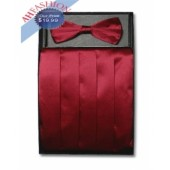 Burgundy Bow Tie and Cummerbund Set